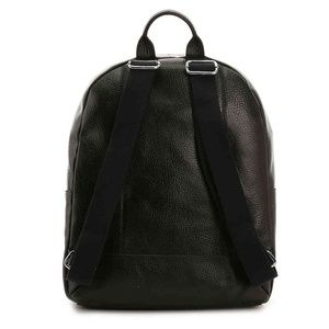 Black Cole Haan Mens Saunders Leather Zip Top Backpack
